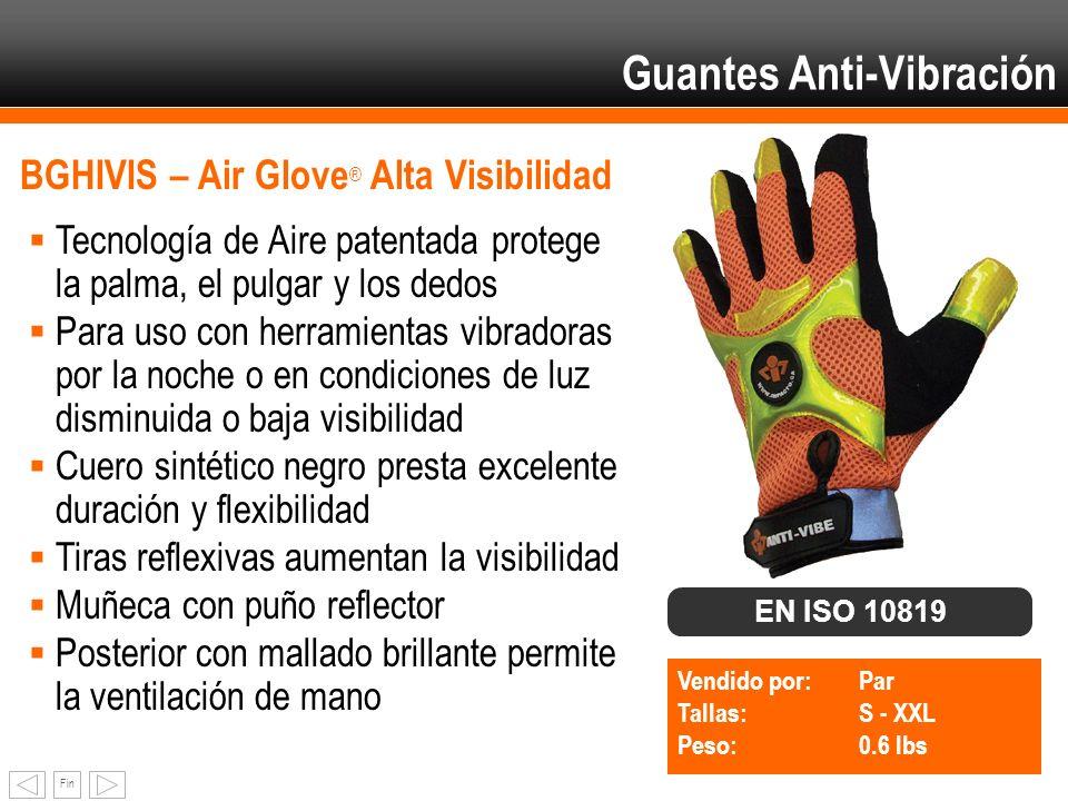 Fin BGHIVIS – Air Glove ® Alta Visibilidad Tecnología de Aire patentada protege la palma, el pulgar y los dedos Para uso con herramientas vibradoras p
