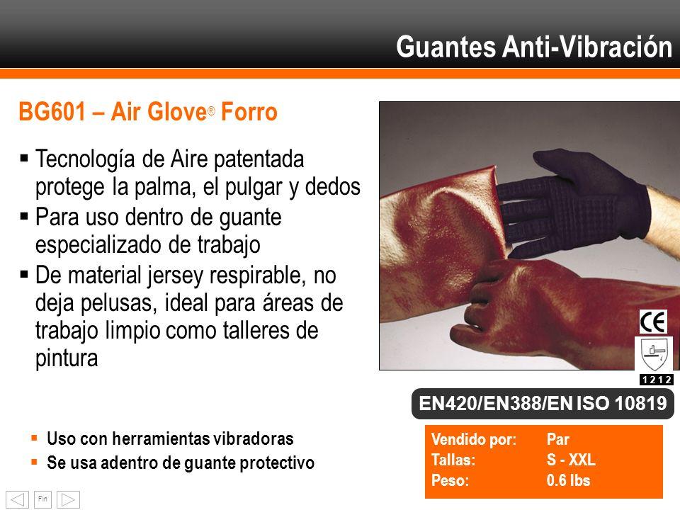 Fin BG601 – Air Glove ® Forro Tecnología de Aire patentada protege la palma, el pulgar y dedos Para uso dentro de guante especializado de trabajo De m