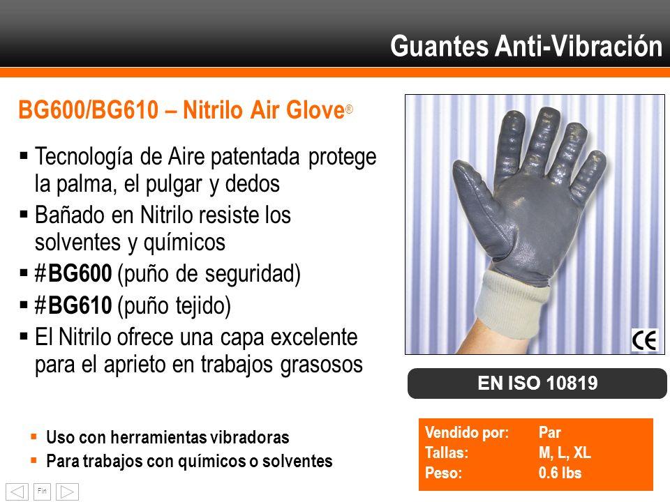 Fin BG600/BG610 – Nitrilo Air Glove ® Tecnología de Aire patentada protege la palma, el pulgar y dedos Bañado en Nitrilo resiste los solventes y quími
