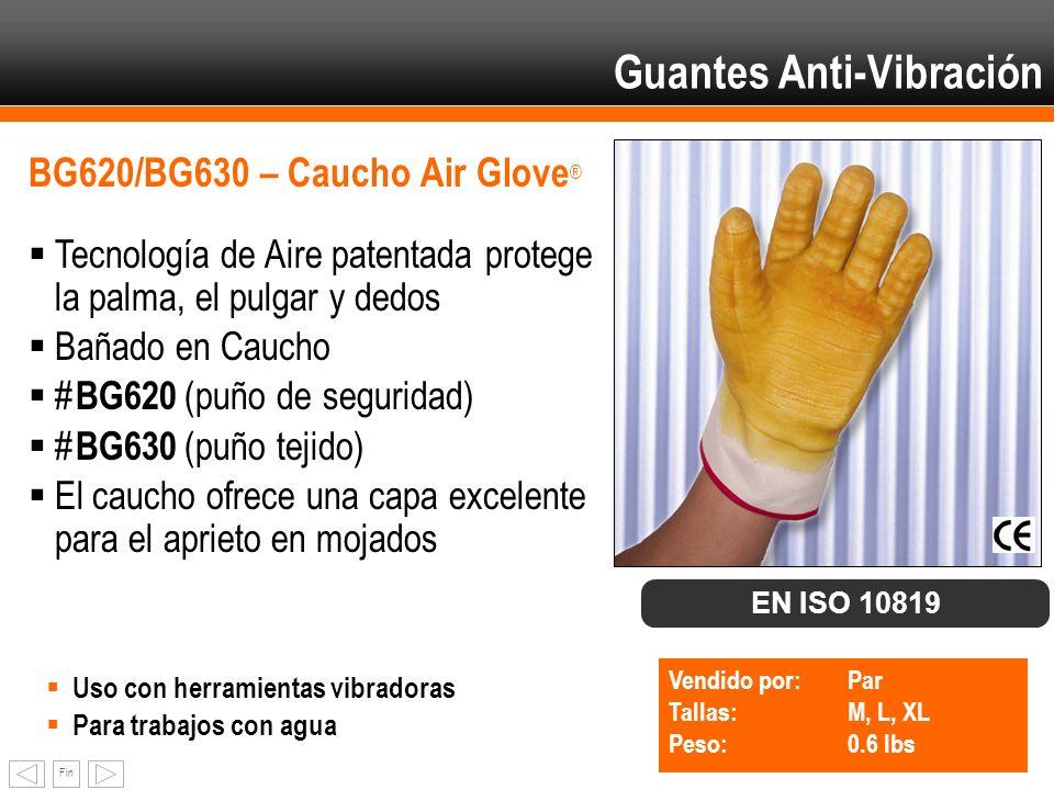 Fin BG620/BG630 – Caucho Air Glove ® Tecnología de Aire patentada protege la palma, el pulgar y dedos Bañado en Caucho # BG620 (puño de seguridad) # B