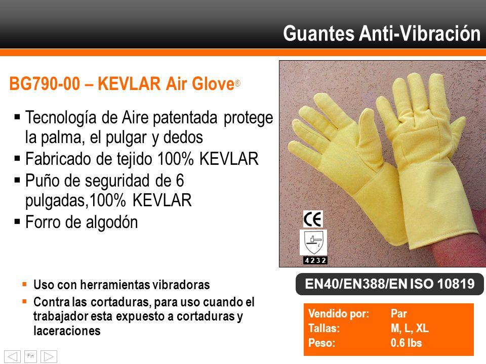 Fin Guantes Anti-Vibración BG790-00 – KEVLAR Air Glove ® Tecnología de Aire patentada protege la palma, el pulgar y dedos Fabricado de tejido 100% KEV