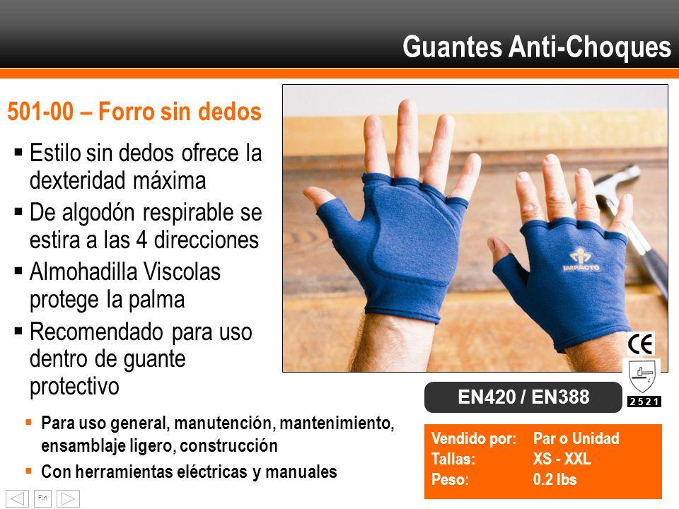 Fin 501-00 – Forro sin dedos Estilo sin dedos ofrece la dexteridad máxima De algodón respirable se estira a las 4 direcciones Almohadilla Viscolas pro