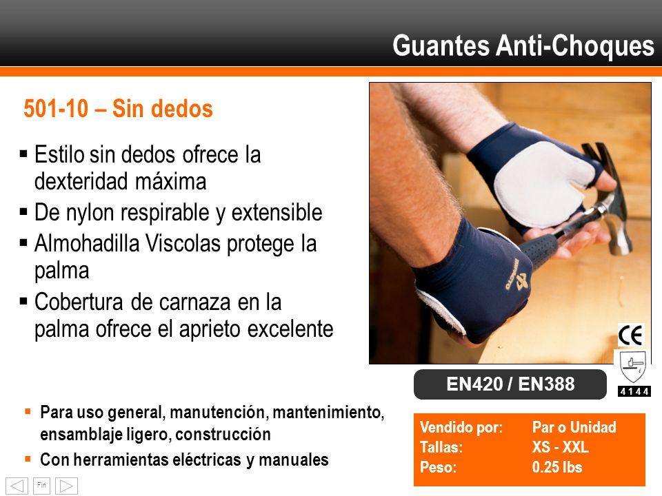 Fin Guantes Anti-Choques 501-10 – Sin dedos Estilo sin dedos ofrece la dexteridad máxima De nylon respirable y extensible Almohadilla Viscolas protege