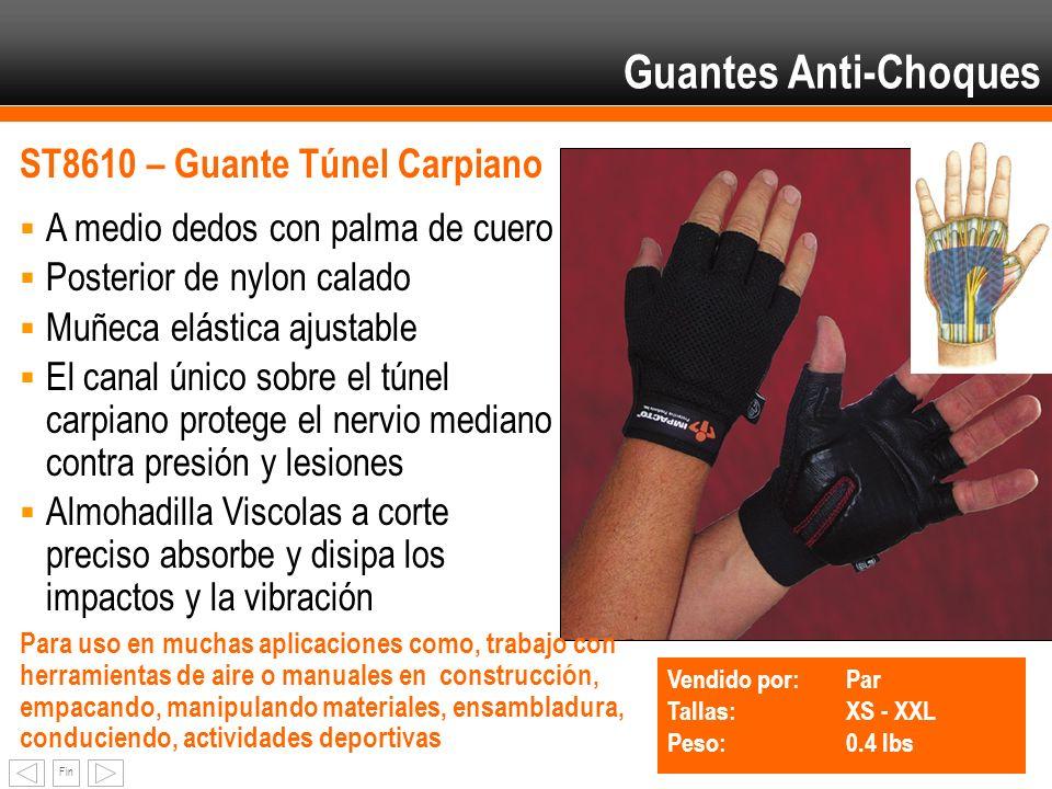Fin Guantes Anti-Choques ST8610 – Guante Túnel Carpiano A medio dedos con palma de cuero Posterior de nylon calado Muñeca elástica ajustable El canal