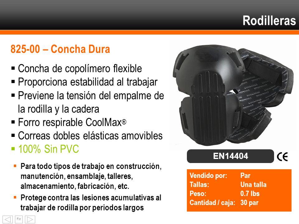 Fin Rodilleras 825-00 – Concha Dura Concha de copolímero flexible Proporciona estabilidad al trabajar Previene la tensión del empalme de la rodilla y