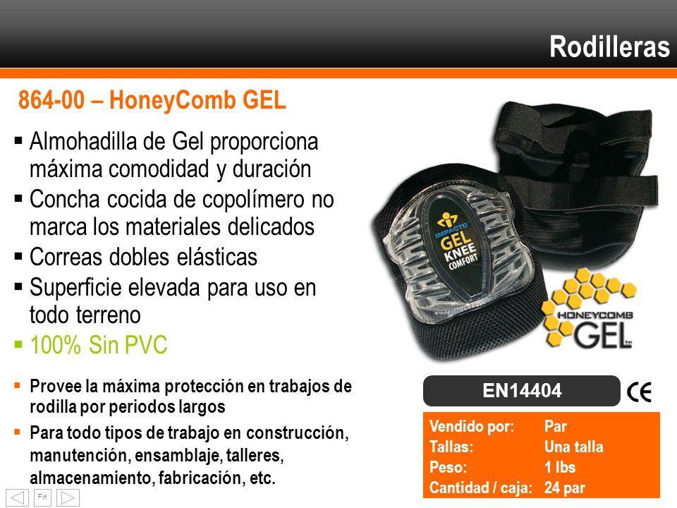 Fin Rodilleras 864-00 – HoneyComb GEL Almohadilla de Gel proporciona máxima comodidad y duración Concha cocida de copolímero no marca los materiales d