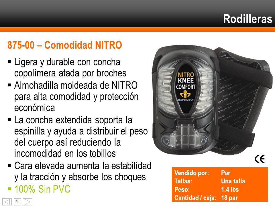 Fin Rodilleras 875-00 – Comodidad NITRO Ligera y durable con concha copolímera atada por broches Almohadilla moldeada de NITRO para alta comodidad y p