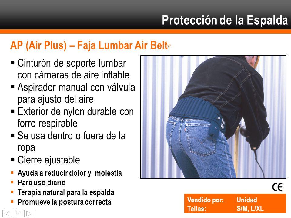 Fin Protección de la Espalda AP (Air Plus) – Faja Lumbar Air Belt ® Cinturón de soporte lumbar con cámaras de aire inflable Aspirador manual con válvu