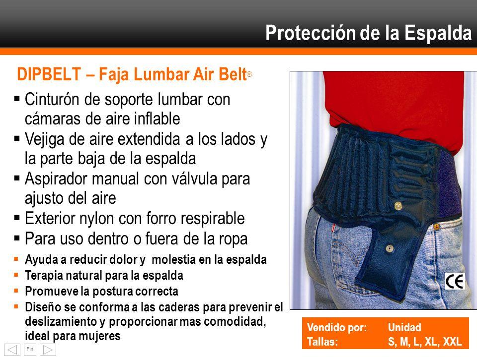 Fin DIPBELT – Faja Lumbar Air Belt ® Cinturón de soporte lumbar con cámaras de aire inflable Vejiga de aire extendida a los lados y la parte baja de l