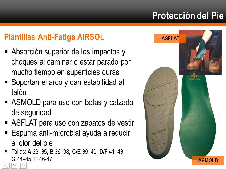 Fin Protección del Pie Plantillas Anti-Fatiga AIRSOL Absorción superior de los impactos y choques al caminar o estar parado por mucho tiempo en superf