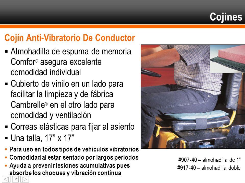 Fin Cojín Anti-Vibratorio De Conductor Almohadilla de espuma de memoria Comfor ® asegura excelente comodidad individual Cubierto de vinilo en un lado