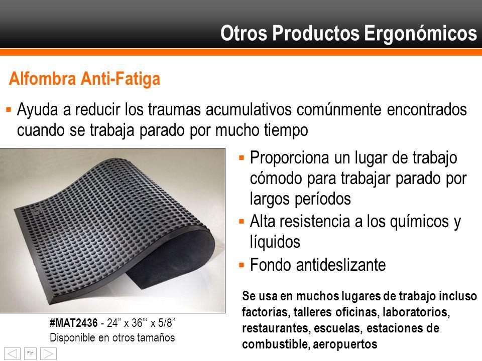 Fin Alfombra Anti-Fatiga Ayuda a reducir los traumas acumulativos comúnmente encontrados cuando se trabaja parado por mucho tiempo Otros Productos Erg