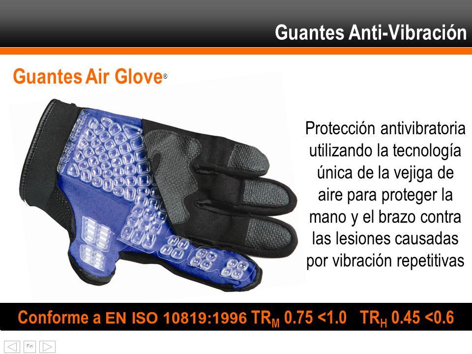 Fin Guantes Air Glove ® Conforme a EN ISO 10819:1996 TR M 0.75 <1.0 TR H 0.45 <0.6 Protección antivibratoria utilizando la tecnología única de la veji