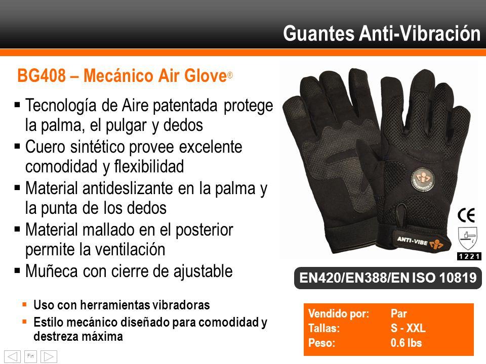 Fin BG408 – Mecánico Air Glove ® Tecnología de Aire patentada protege la palma, el pulgar y dedos Cuero sintético provee excelente comodidad y flexibi