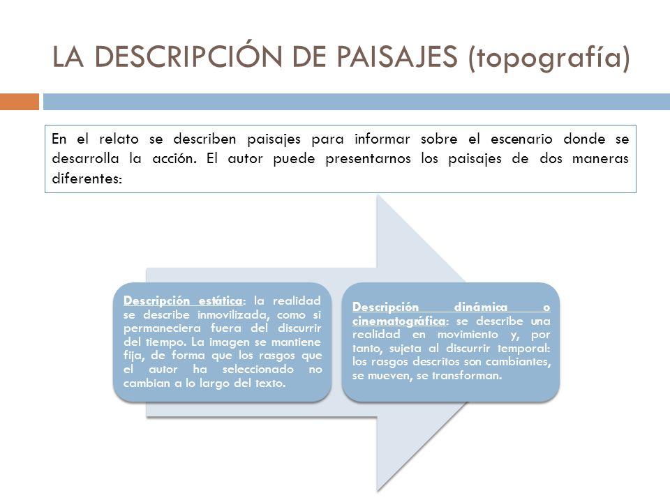 LA DESCRIPCIÓN DE PAISAJES (topografía) En el relato se describen paisajes para informar sobre el escenario donde se desarrolla la acción. El autor pu