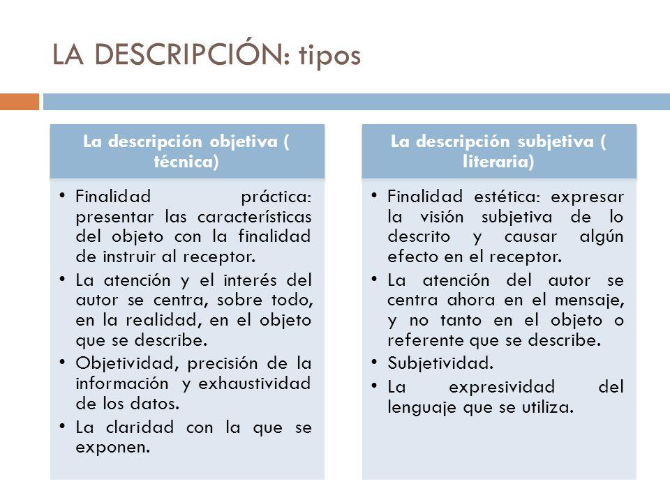 LA DESCRIPCIÓN: tipos La descripción objetiva ( técnica) Finalidad práctica: presentar las características del objeto con la finalidad de instruir al