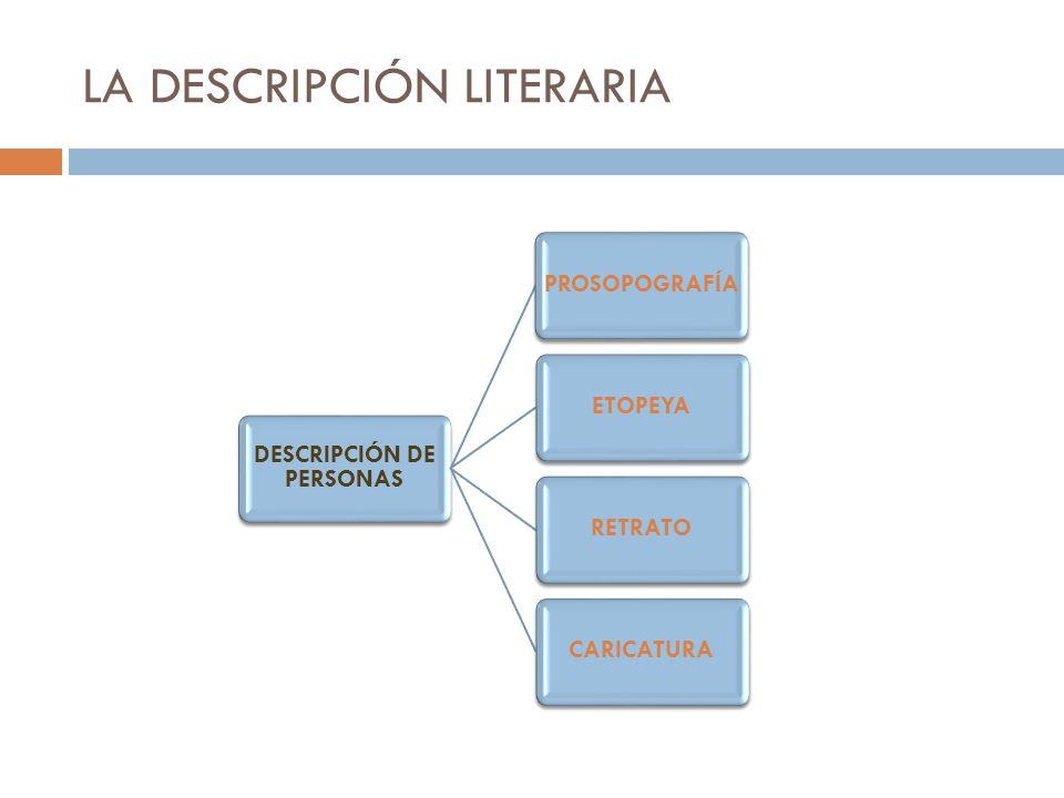 LA DESCRIPCIÓN LITERARIA Prosopografía: El autor se concentra en la apariencia externa de la persona, en lo que se puede ver de él: sus características físicas (estatura, forma del cuerpo,…), su rostro, su ropa, etc.