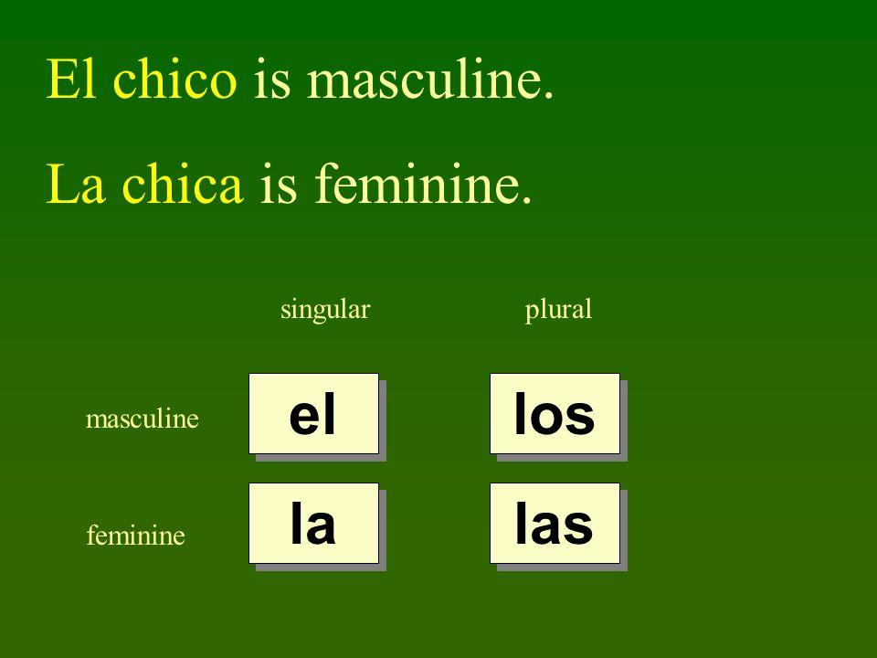 El chico is masculine. La chica is feminine. singularplural masculine feminine el la los las