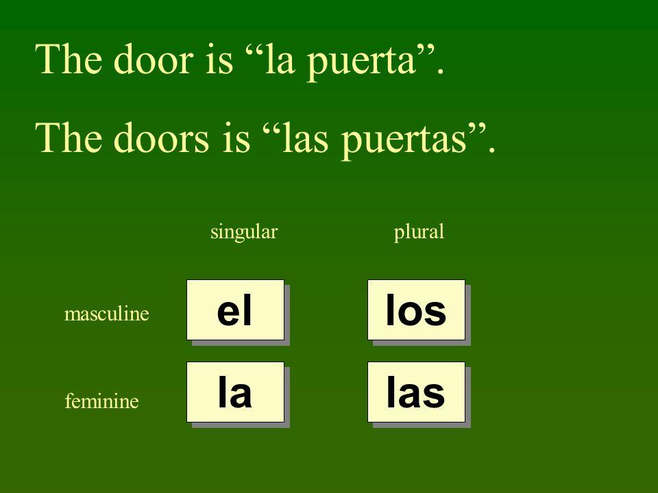 The door is la puerta. The doors is las puertas. singularplural masculine feminine el la los las