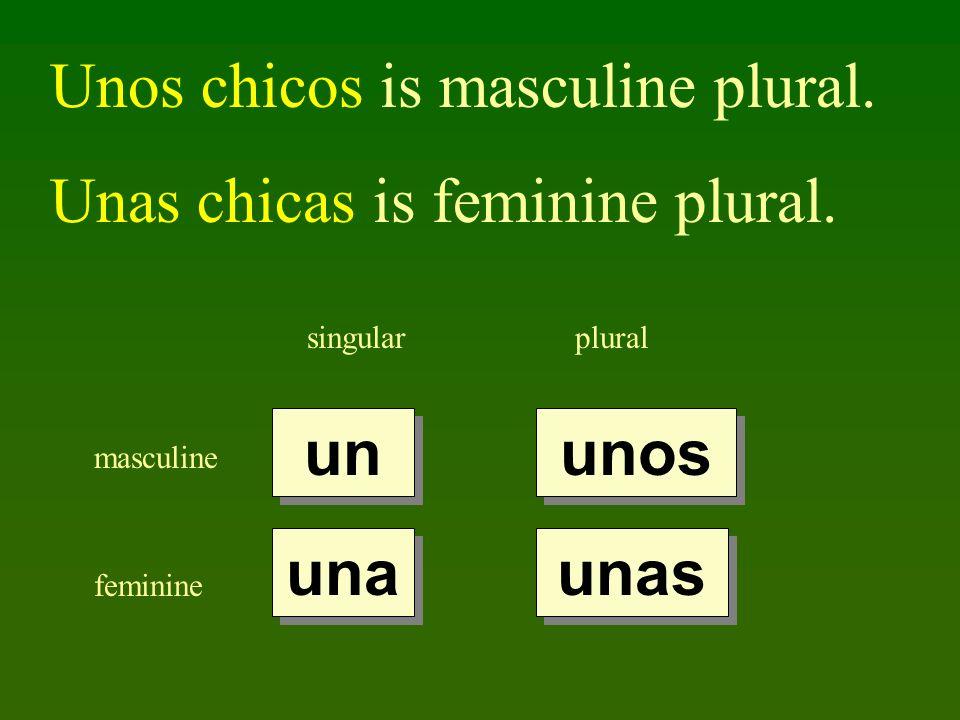 singularplural masculine feminine un una unos unas Unos chicos is masculine plural. Unas chicas is feminine plural.