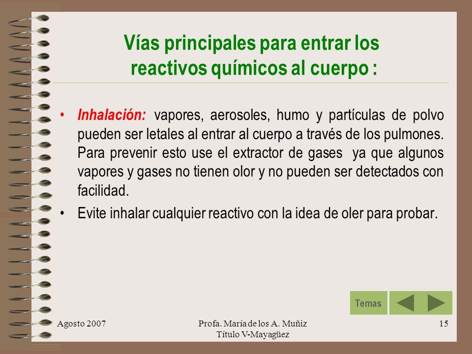 Agosto 2007Profa. María de los A. Muñiz Título V-Mayagüez 15 Vías principales para entrar los reactivos químicos al cuerpo : Inhalación: vapores, aero