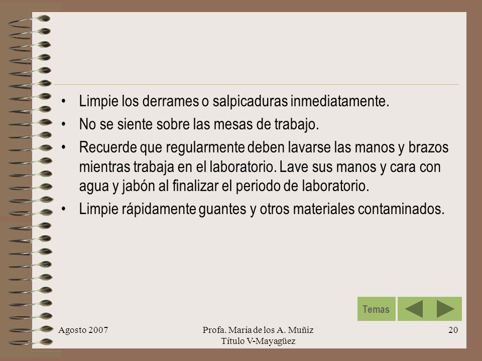 Agosto 2007Profa. María de los A. Muñiz Título V-Mayagüez 20 Limpie los derrames o salpicaduras inmediatamente. No se siente sobre las mesas de trabaj