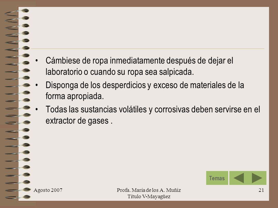 Agosto 2007Profa. María de los A. Muñiz Título V-Mayagüez 21 Cámbiese de ropa inmediatamente después de dejar el laboratorio o cuando su ropa sea salp