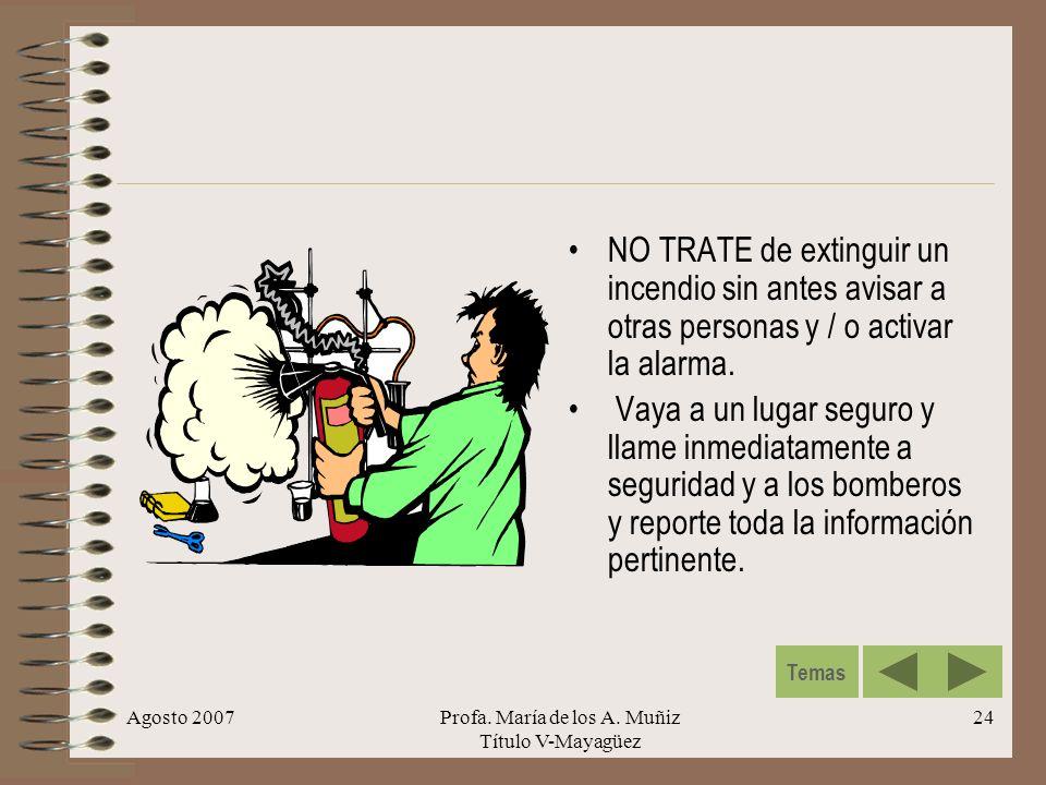 Agosto 2007Profa. María de los A. Muñiz Título V-Mayagüez 24 NO TRATE de extinguir un incendio sin antes avisar a otras personas y / o activar la alar