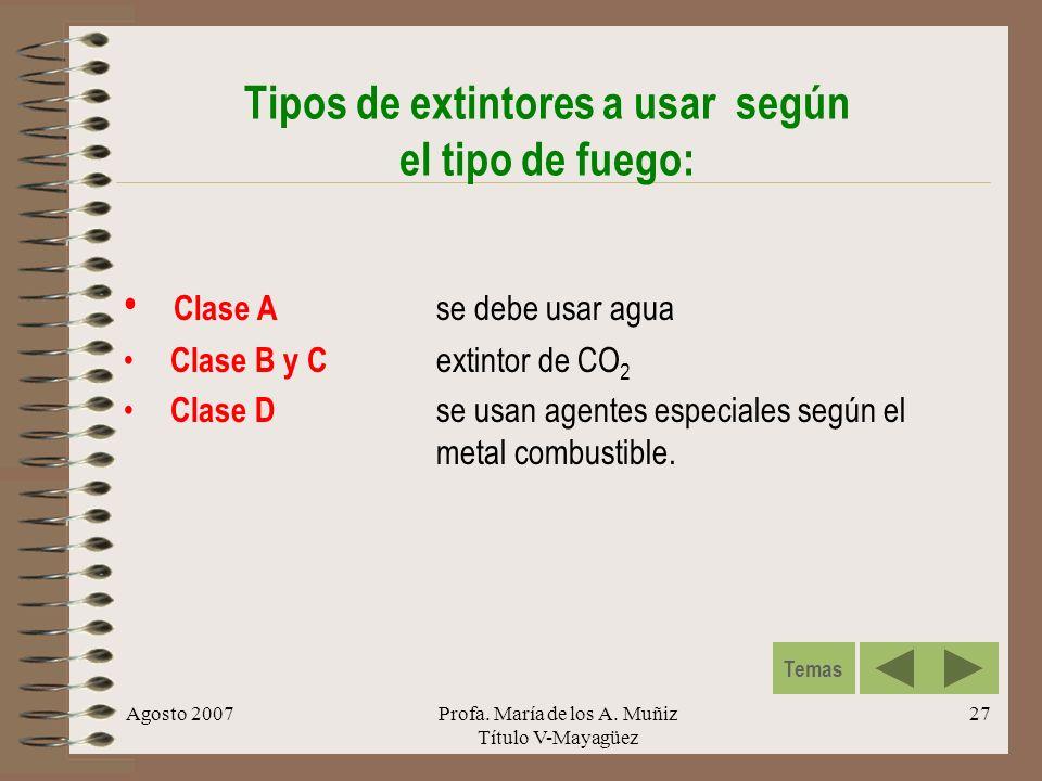 Agosto 2007Profa. María de los A. Muñiz Título V-Mayagüez 27 Tipos de extintores a usar según el tipo de fuego: Clase A se debe usar agua Clase B y C