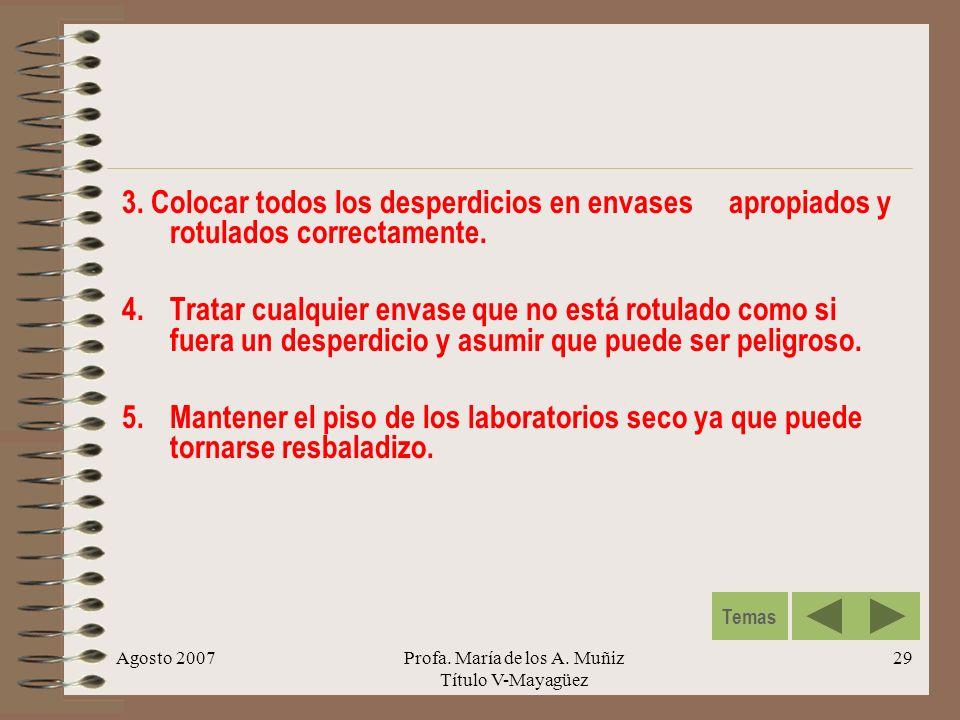 Agosto 2007Profa. María de los A. Muñiz Título V-Mayagüez 29 3. Colocar todos los desperdicios en envases apropiados y rotulados correctamente. 4.Trat