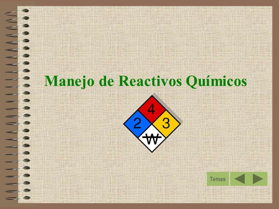 Manejo de Reactivos Químicos Temas