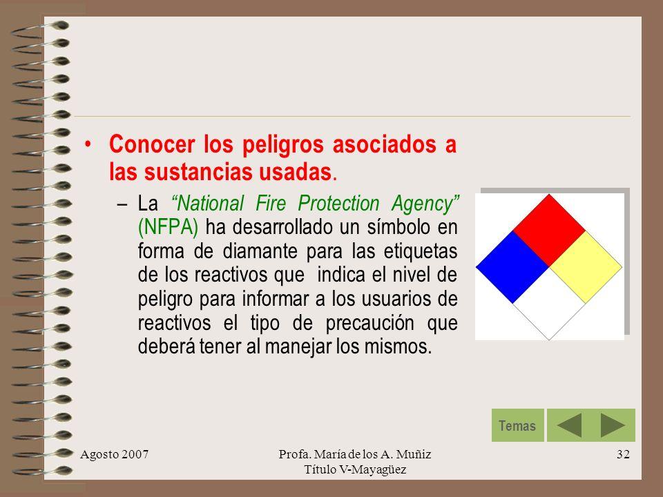 Agosto 2007Profa. María de los A. Muñiz Título V-Mayagüez 32 Conocer los peligros asociados a las sustancias usadas. –La National Fire Protection Agen