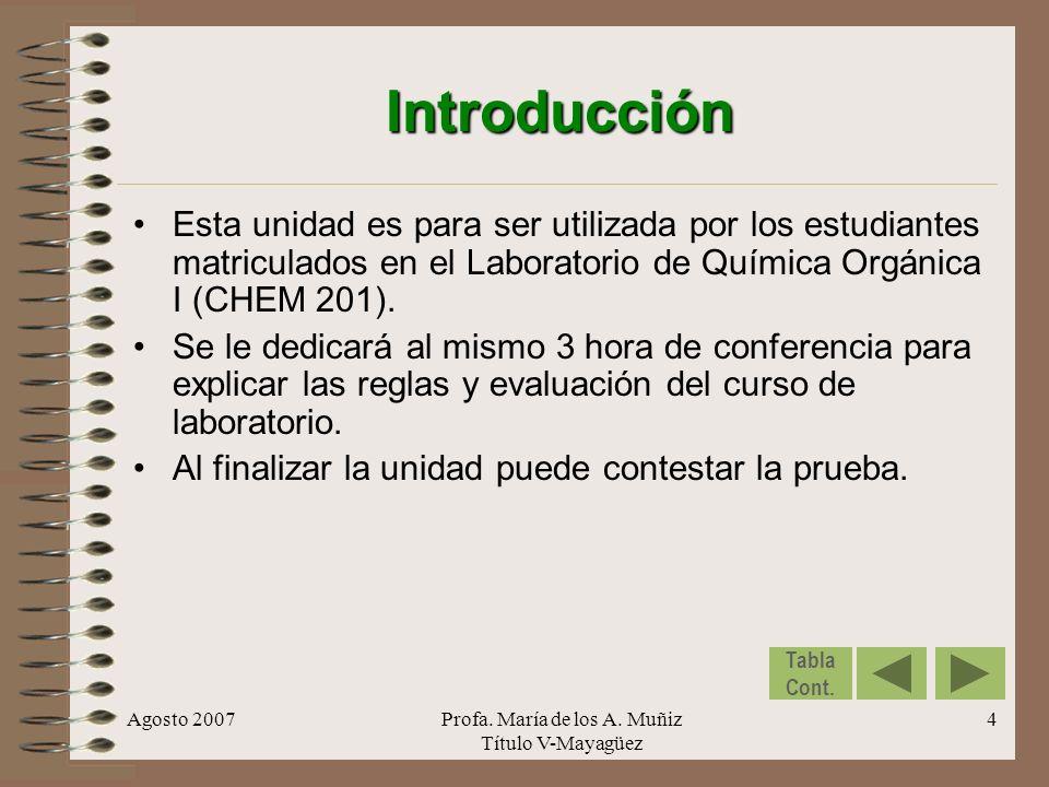 Agosto 2007Profa. María de los A. Muñiz Título V-Mayagüez 4 Introducción Esta unidad es para ser utilizada por los estudiantes matriculados en el Labo