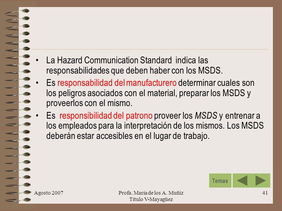 Agosto 2007Profa. María de los A. Muñiz Título V-Mayagüez 41 La Hazard Communication Standard indica las responsabilidades que deben haber con los MSD