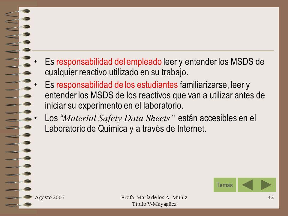 Agosto 2007Profa. María de los A. Muñiz Título V-Mayagüez 42 Es responsabilidad del empleado leer y entender los MSDS de cualquier reactivo utilizado