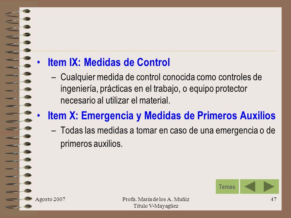Agosto 2007Profa. María de los A. Muñiz Título V-Mayagüez 47 Item IX: Medidas de Control –Cualquier medida de control conocida como controles de ingen