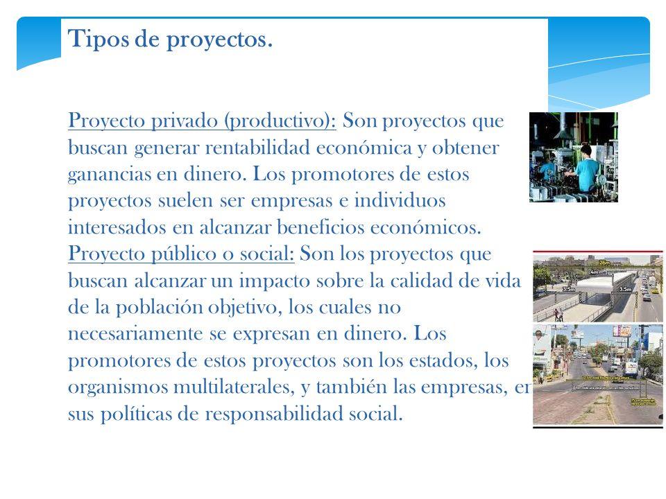 Tipos de proyectos. Proyecto privado (productivo): Son proyectos que buscan generar rentabilidad económica y obtener ganancias en dinero. Los promotor