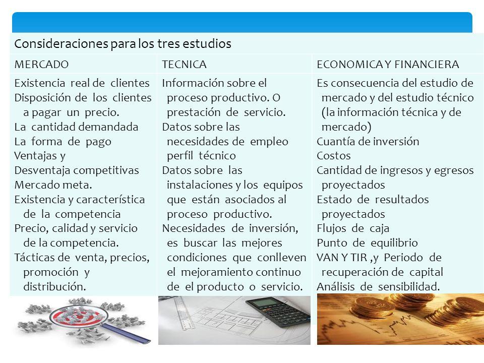 Consideraciones para los tres estudios MERCADOTECNICAECONOMICA Y FINANCIERA Existencia real de clientes Disposición de los clientes a pagar un precio.