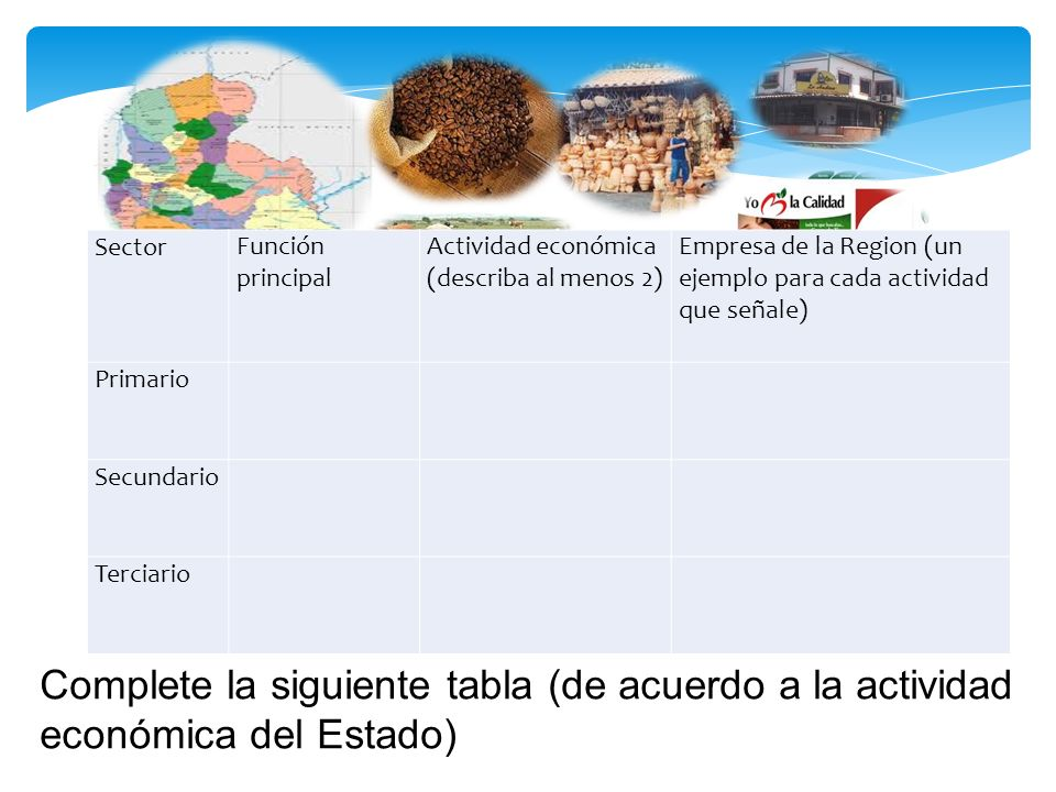 SectorFunción principal Actividad económica (describa al menos 2) Empresa de la Region (un ejemplo para cada actividad que señale) Primario Secundario