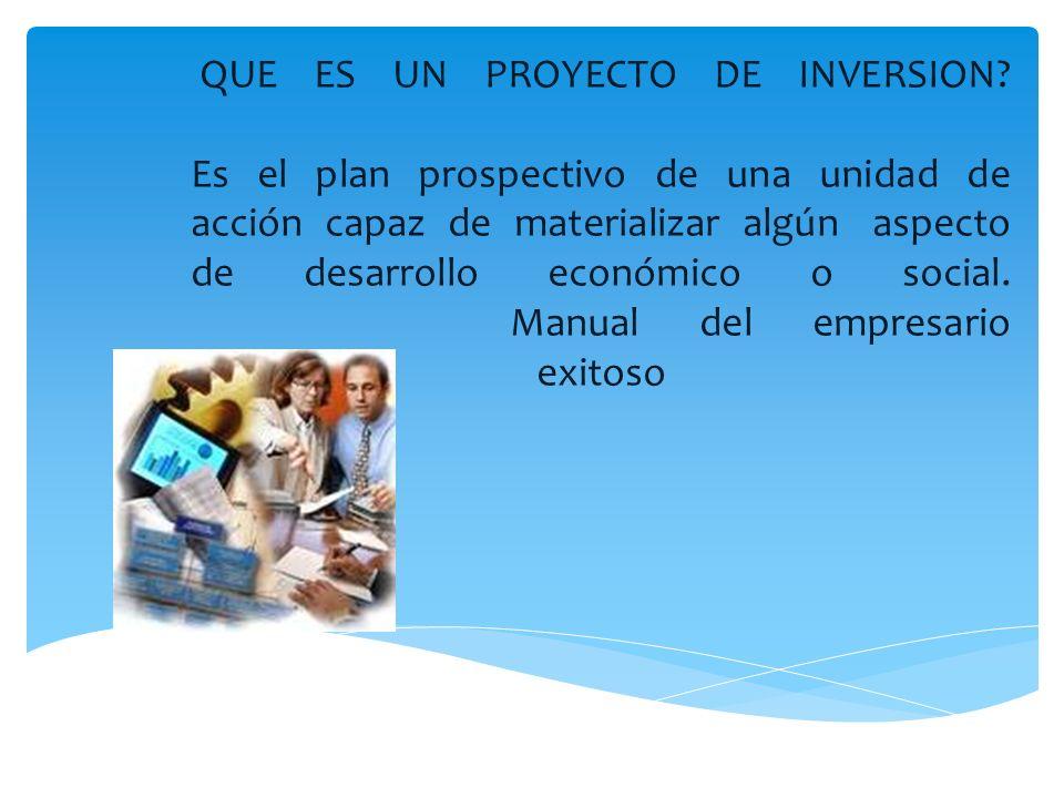 QUE ES UN PROYECTO DE INVERSION? Es el plan prospectivo de una unidad de acción capaz de materializar algún aspecto de desarrollo económico o social.