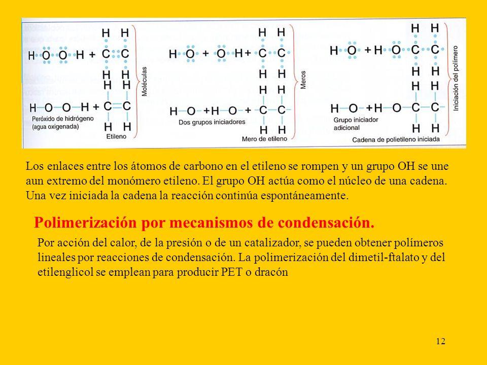 12 Los enlaces entre los átomos de carbono en el etileno se rompen y un grupo OH se une aun extremo del monómero etileno.
