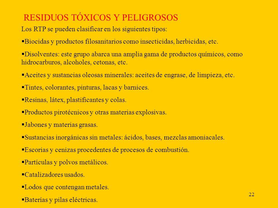 22 RESIDUOS TÓXICOS Y PELIGROSOS Los RTP se pueden clasificar en los siguientes tipos: Biocidas y productos filosanitarios como insecticidas, herbicidas, etc.