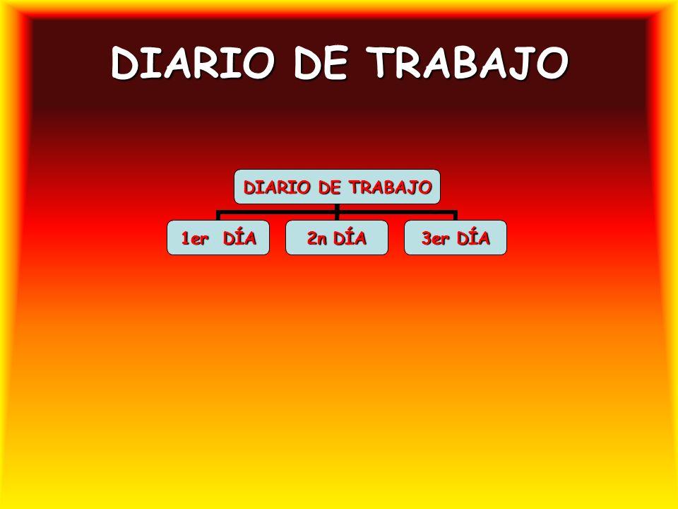 DIARIO DE TRABAJO 1er DÍA 2n DÍA 3er DÍA