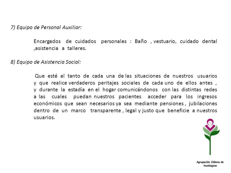 Agrupación Chilena de Huntington 7) Equipo de Personal Auxiliar: Encargados de cuidados personales : Baño, vestuario, cuidado dental,asistencia a tall