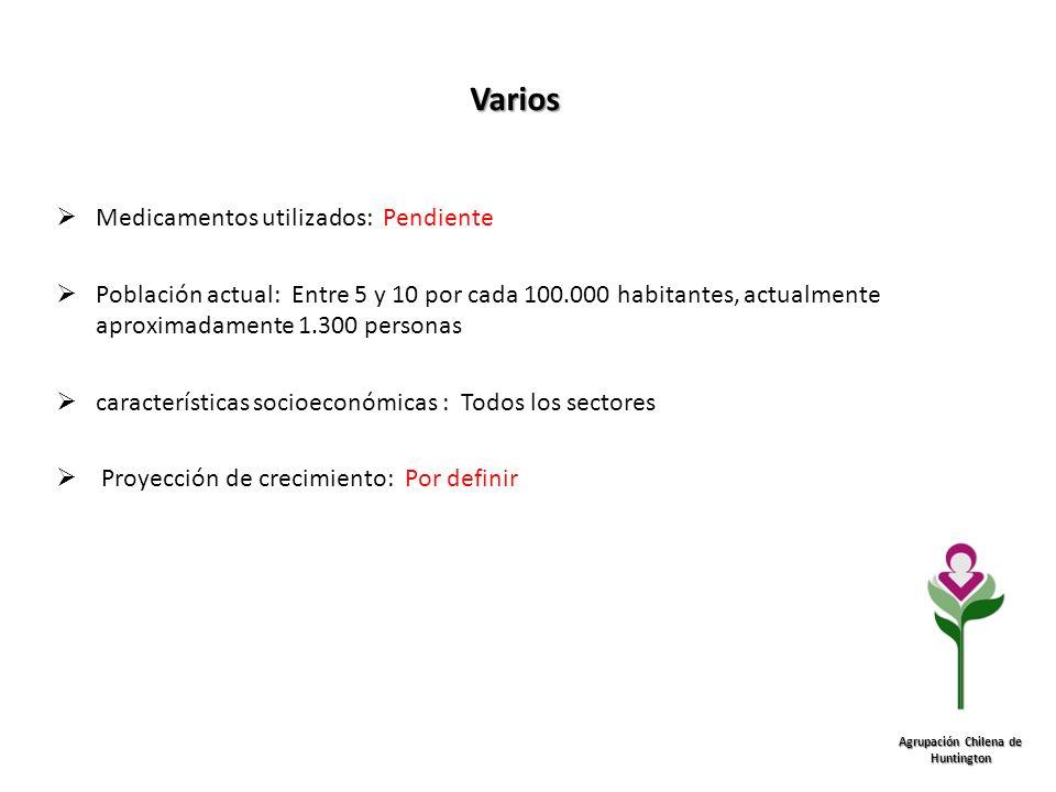 Varios Agrupación Chilena de Huntington Medicamentos utilizados: Pendiente Población actual: Entre 5 y 10 por cada 100.000 habitantes, actualmente apr