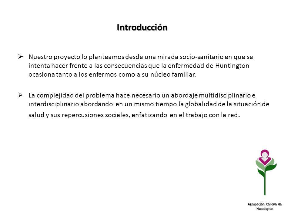 Introducción Agrupación Chilena de Huntington Nuestro proyecto lo planteamos desde una mirada socio-sanitario en que se intenta hacer frente a las con