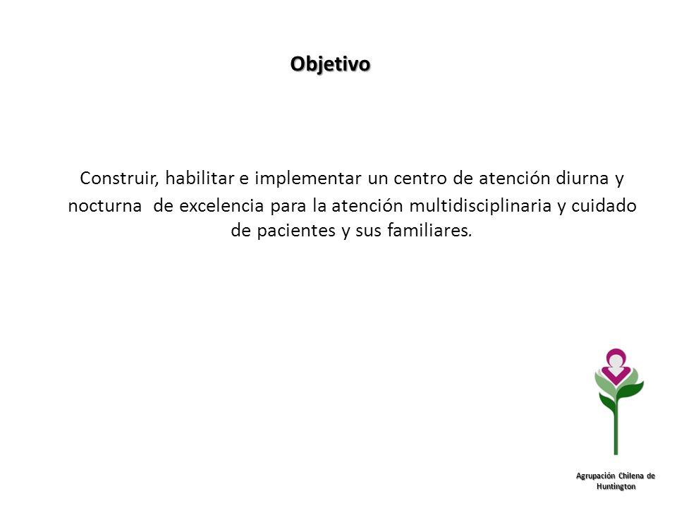 Objetivo Agrupación Chilena de Huntington Construir, habilitar e implementar un centro de atención diurna y nocturna de excelencia para la atención mu