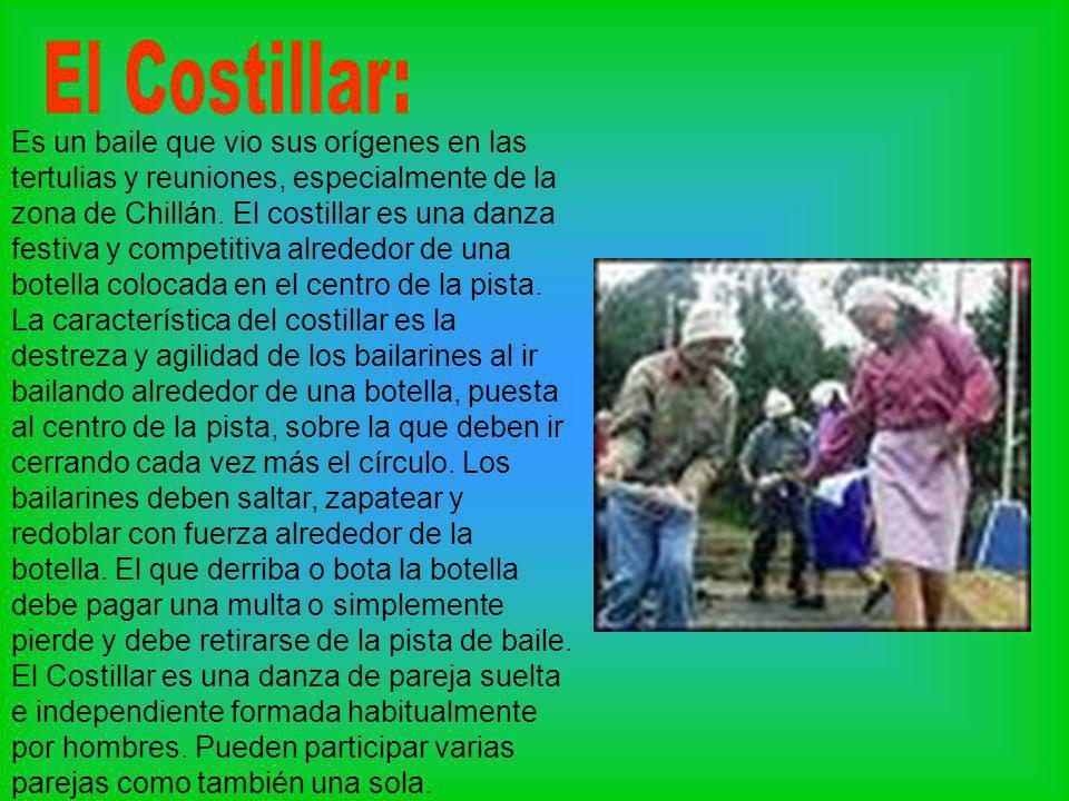 Es un baile que vio sus orígenes en las tertulias y reuniones, especialmente de la zona de Chillán. El costillar es una danza festiva y competitiva al
