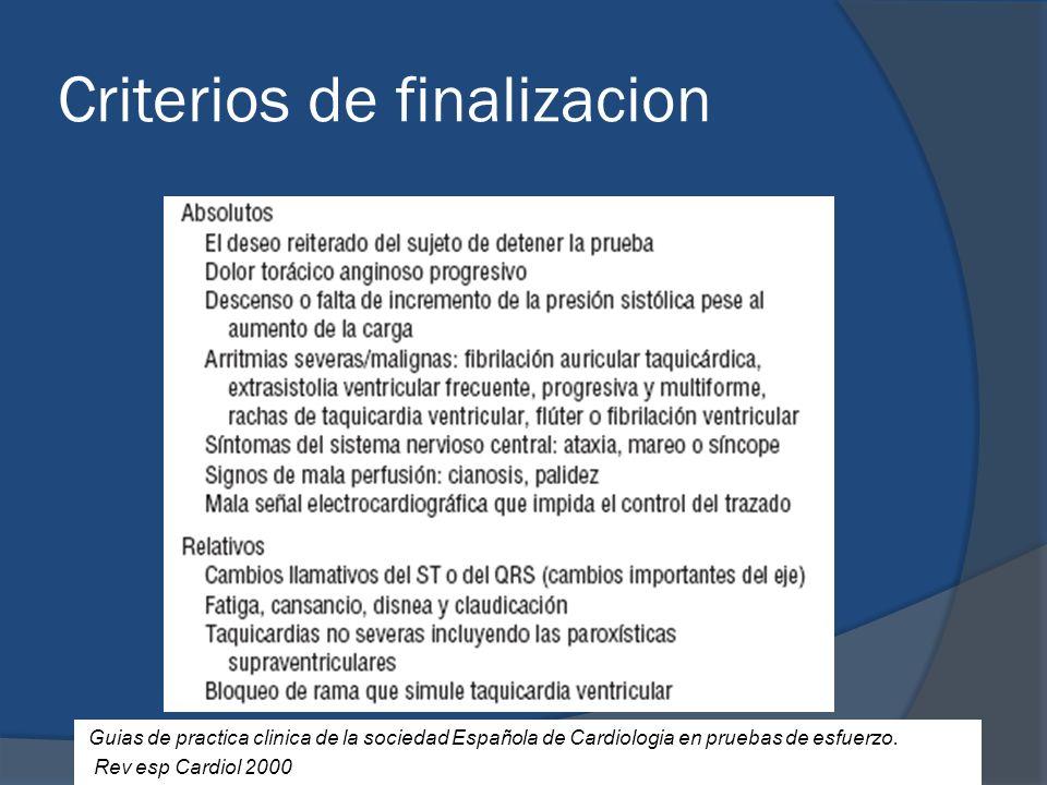 Criterios de finalizacion Guias de practica clinica de la sociedad Española de Cardiologia en pruebas de esfuerzo. Rev esp Cardiol 2000