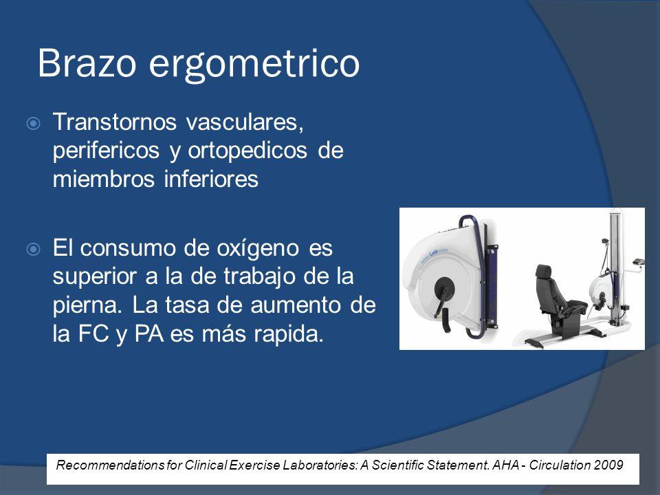 Brazo ergometrico Transtornos vasculares, perifericos y ortopedicos de miembros inferiores El consumo de oxígeno es superior a la de trabajo de la pie